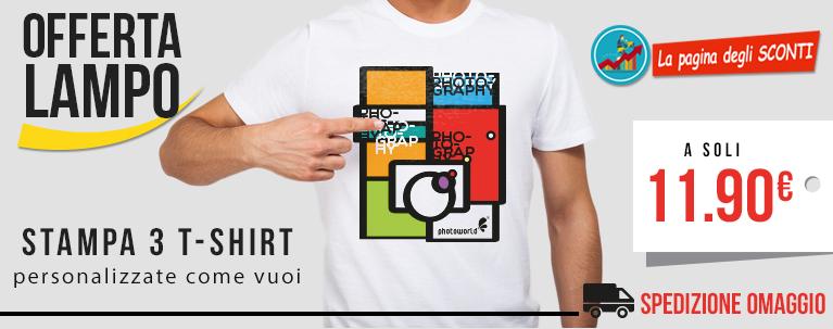 Photoworld.it: 3 T Shirt personalizzate a soli 11,90€ con