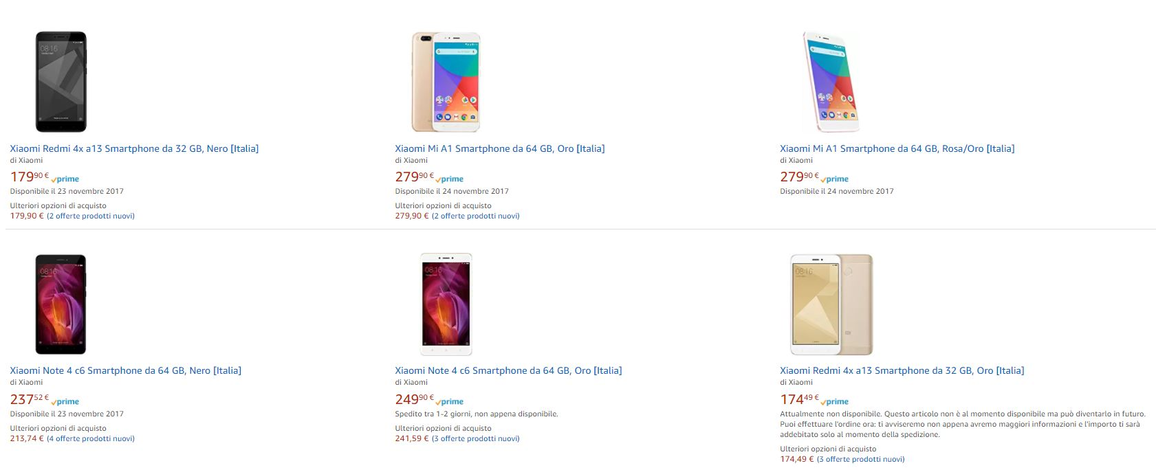 Smartphone Xiaomi Amazon Italia