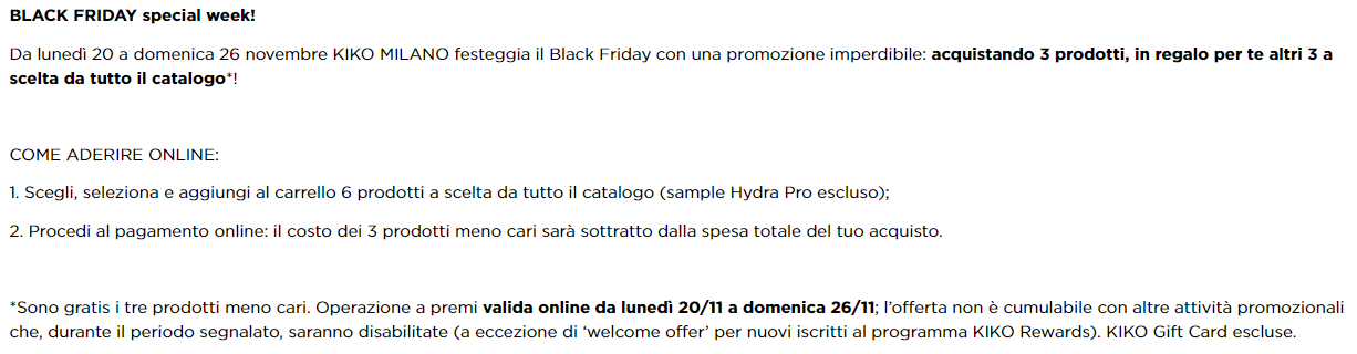 Black Friday KIKO