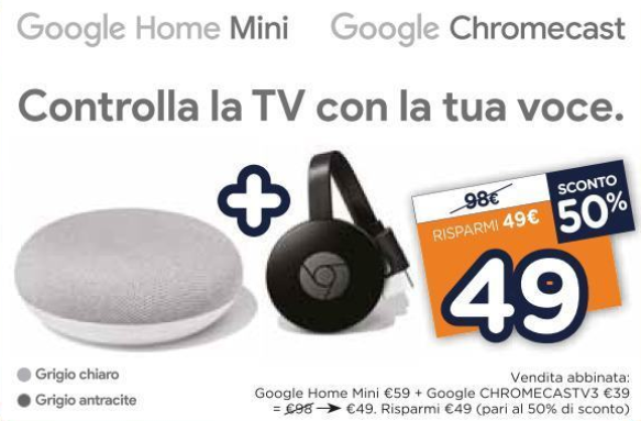 Google-Chromecast-3-Google-Home-Mini-in-offerta