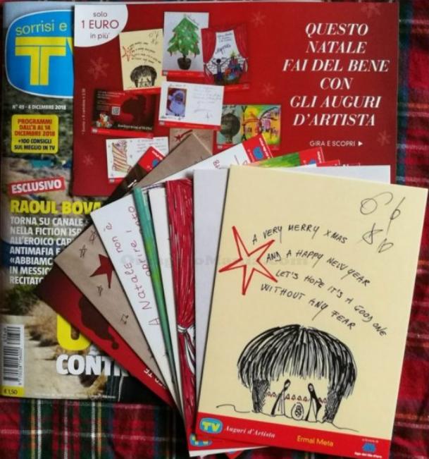 cartoline natalizie con tv sorrisi e canzoni
