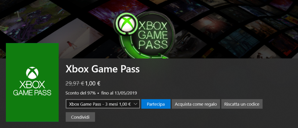 xbox game pass a solo 1€