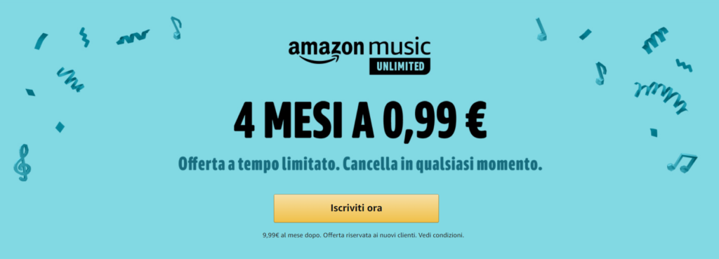 amazon music unlimited 4 mesi
