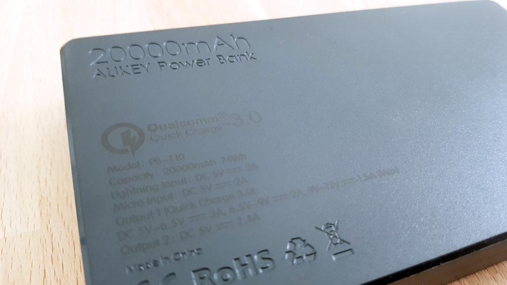powerbank aukey 20000mah specs