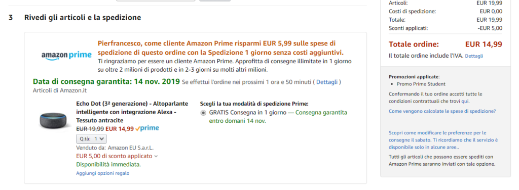 amazon prime student codice sconto echo dot
