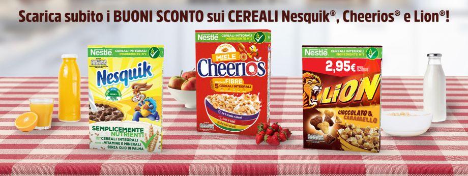 buoni sconto nestlé cereali