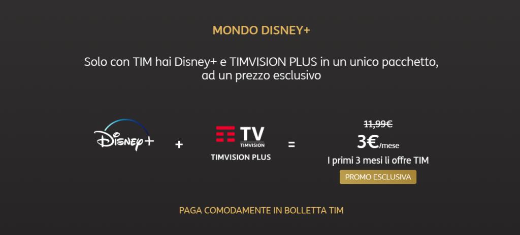 Disney + e Tim Vision PLUS a soli 3€ al mese