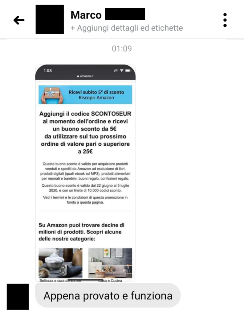 amazon fashion week buono sconto screenshot