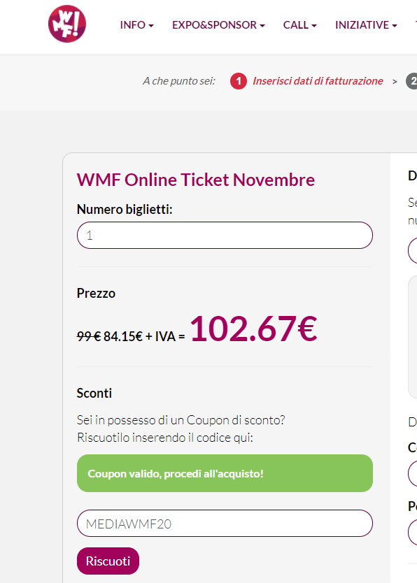 web marketing festival 2020 codice sconto screenshot
