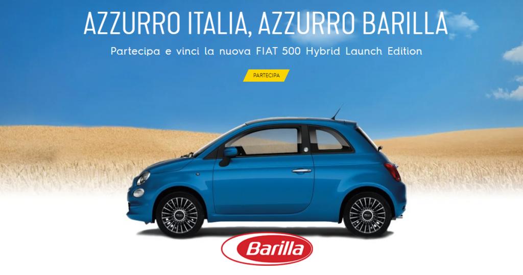 concorso barilla fiat 500 hybrid azzurro italia