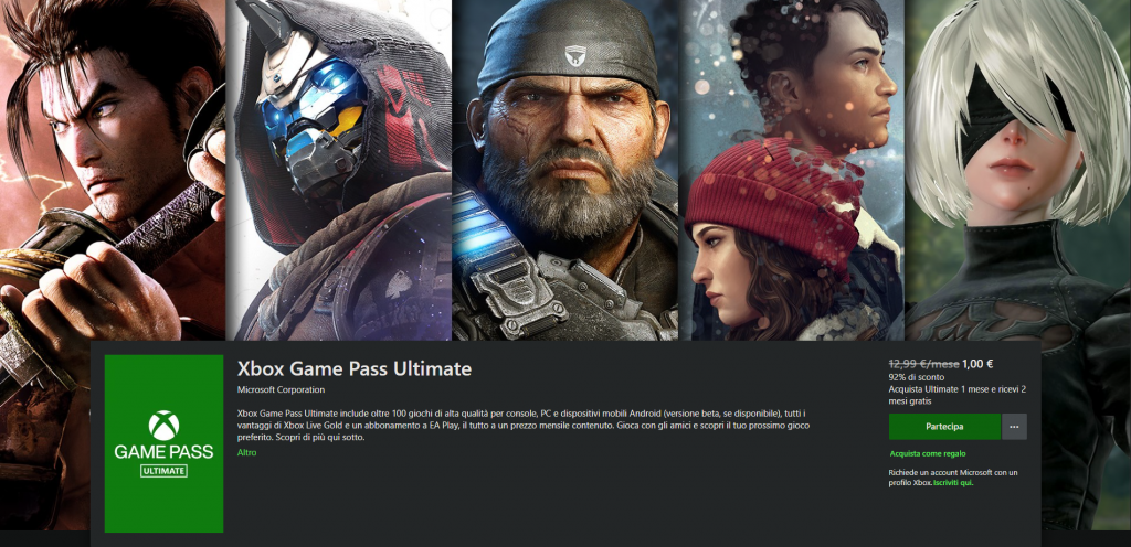 sconto xbox game pass ultimate