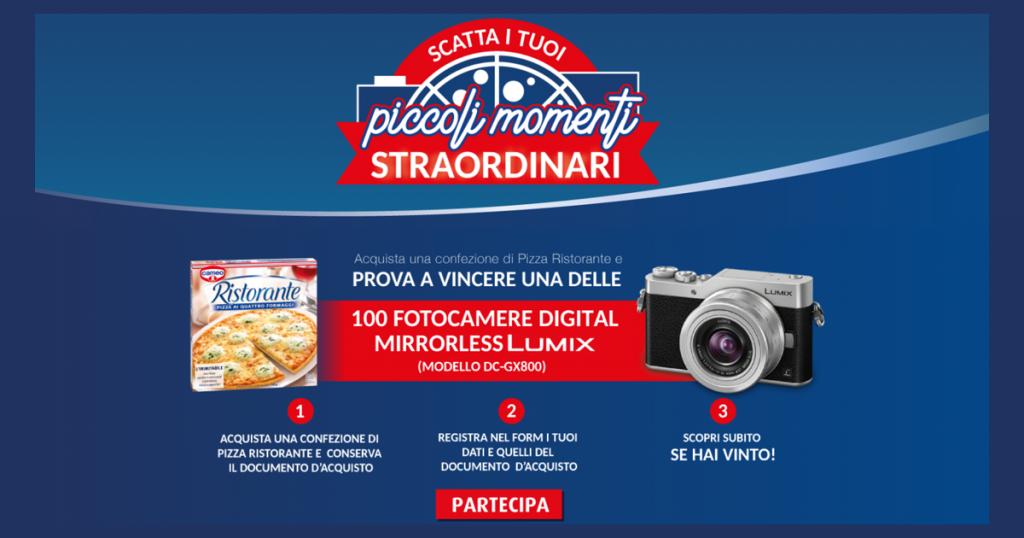 """Acquistando anche solo un prodotto dei surgelati di Pizza Ristorante, puoi partecipare al concorso """"Scatta i tuoi piccoli momenti straordinari"""": in palio 100 fotocamere mirrorless Panasonic Lumix!"""