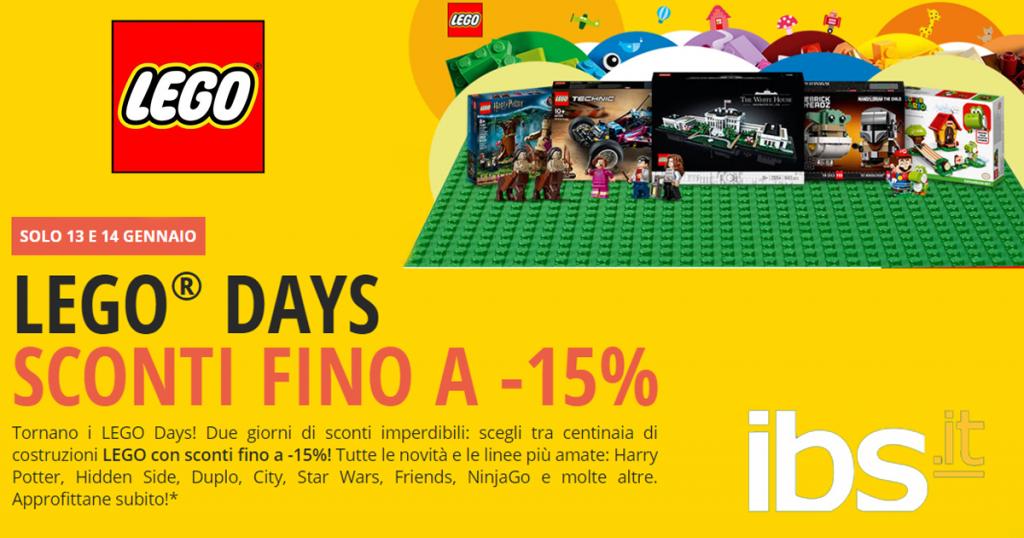 Tornano per due giorni i Lego Days da IBS: sconti fino al 15% su tantissimi set Lego e buoni sconti cumulabili.
