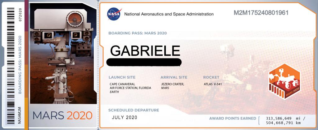 marte missione 2020 il tuo nome biglietto boarding pass