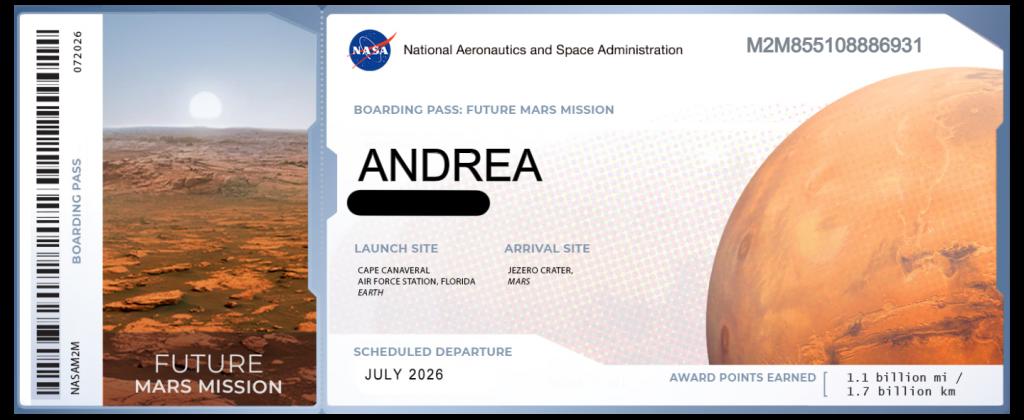 marte 2026 missione biglietto boarding pass