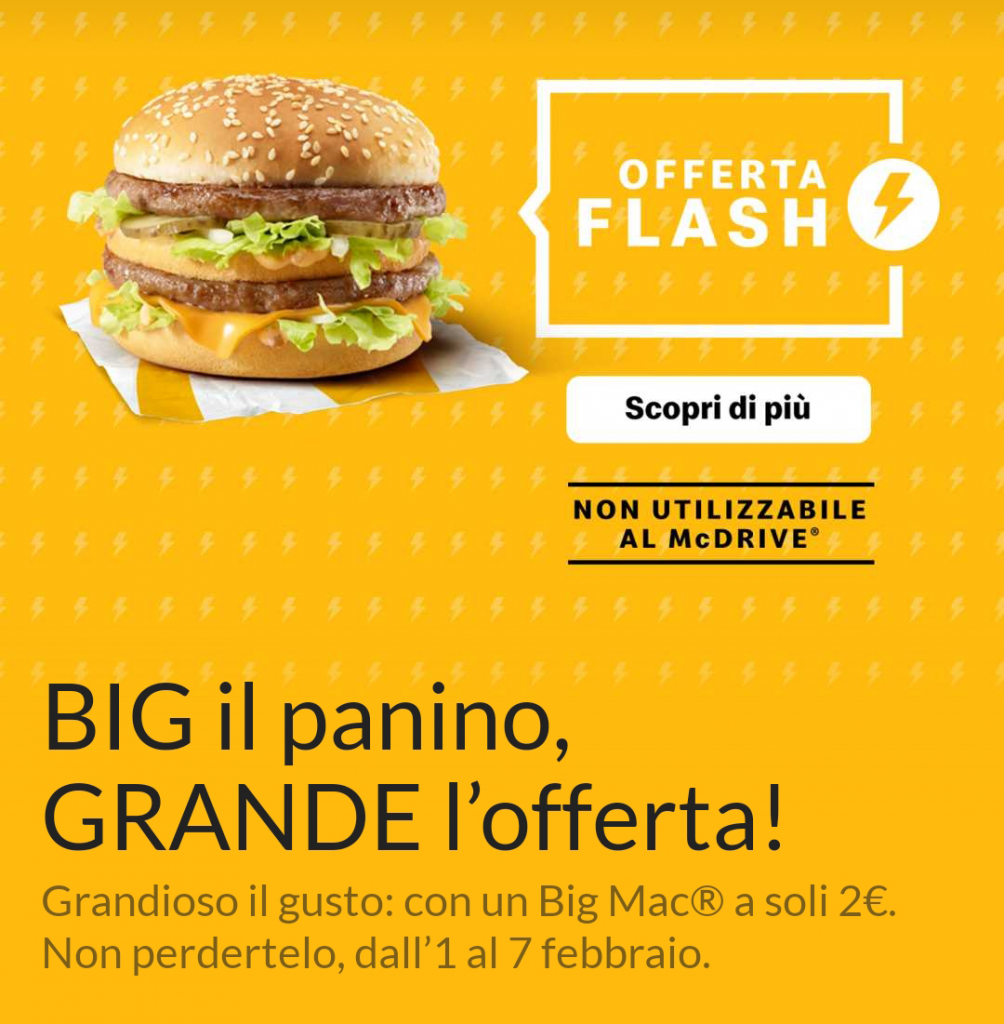 mcdonald's big mac offerta