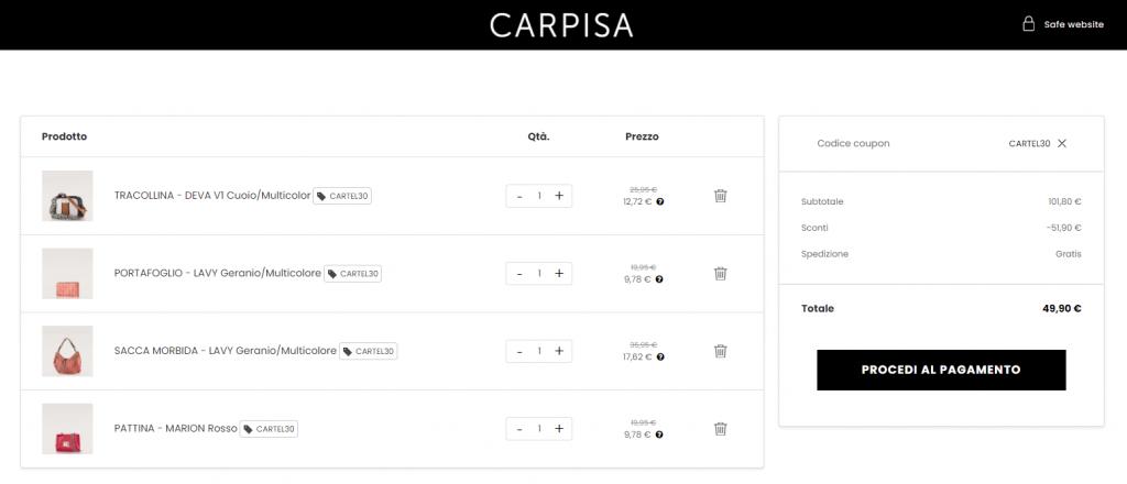 carpisa codice sconto screenshot