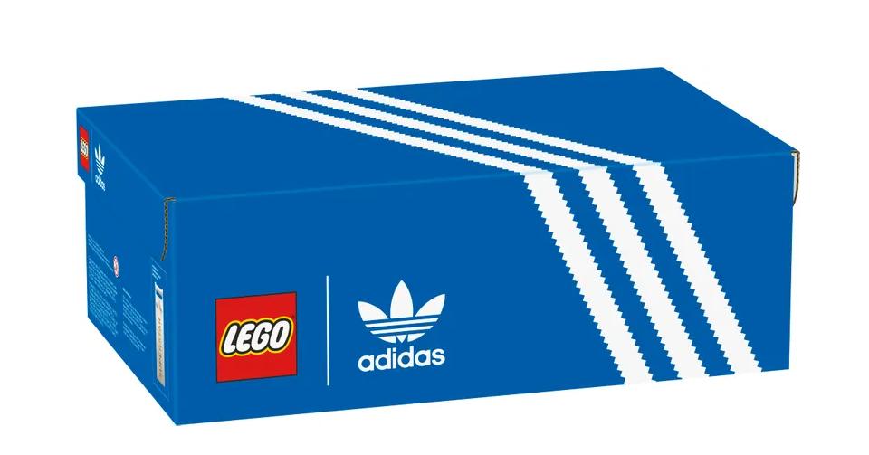 lego scarpa adidas superstar scatola