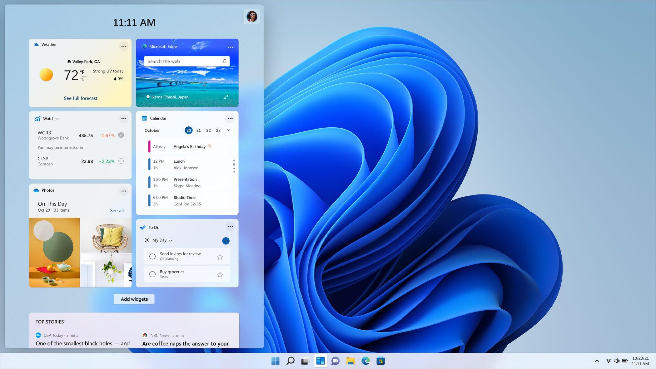 windows 11 menù widget